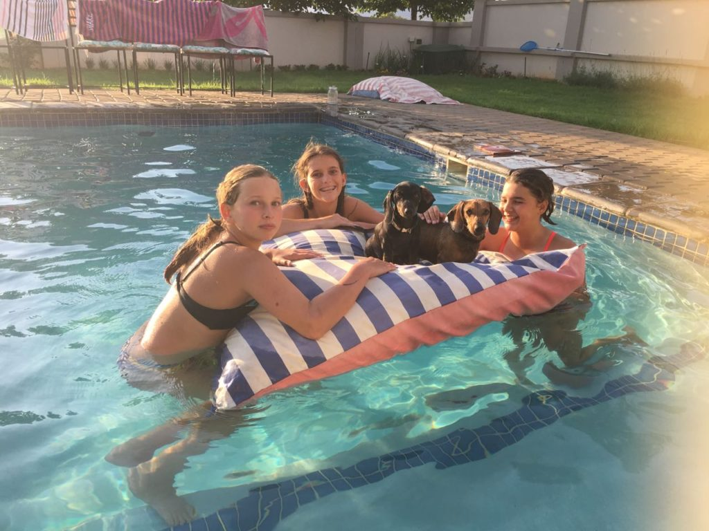 All chilling on the PoolPillow. What fun - Angie