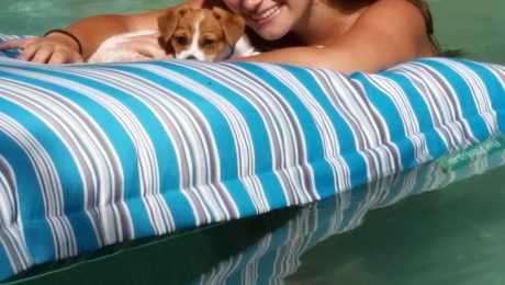 Tatiana and Lola Chillin' on their new PoolPillow bought at Glenshiels Christmas market.